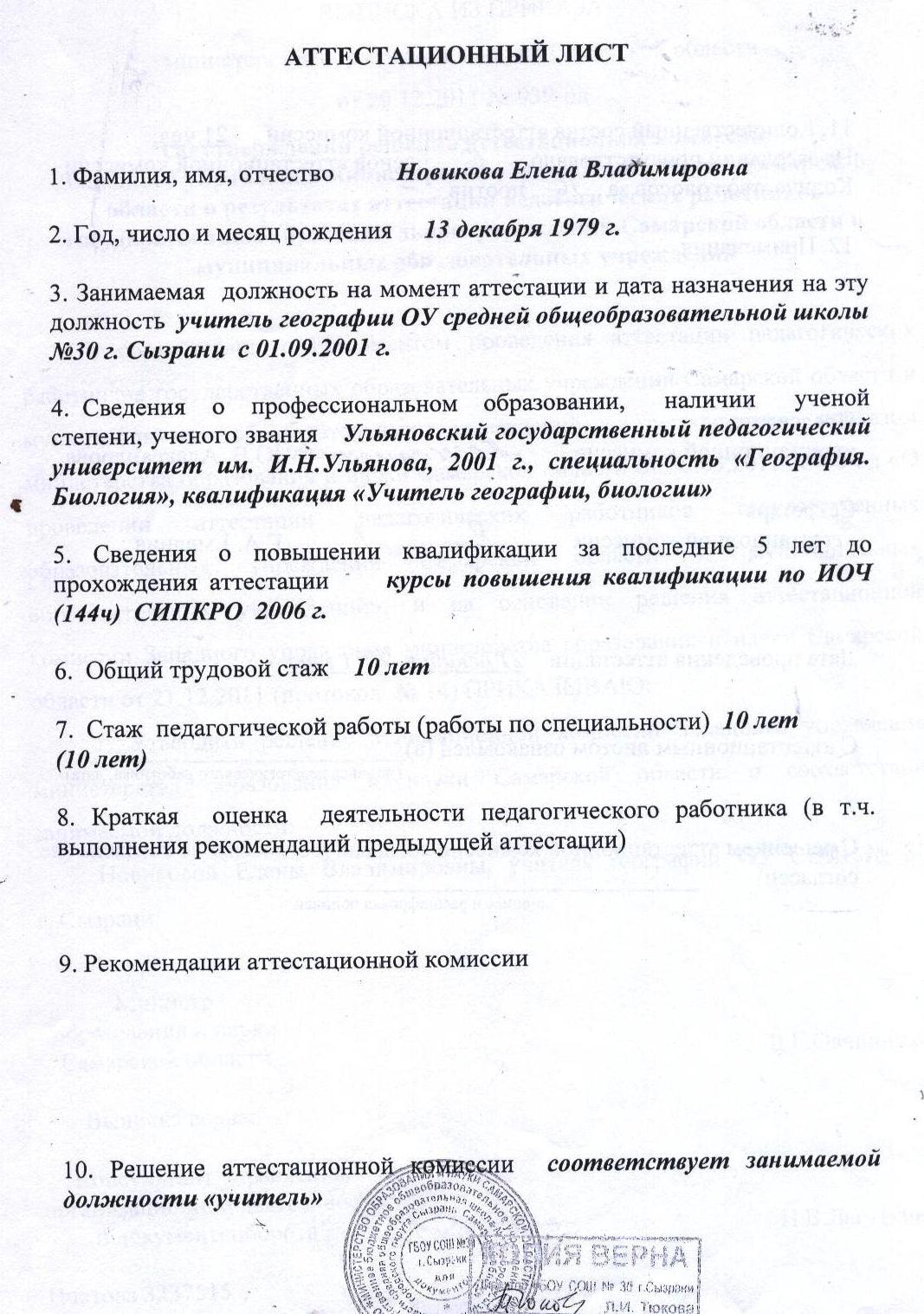 Аттестационный лист на соответствие занимаемой должности
