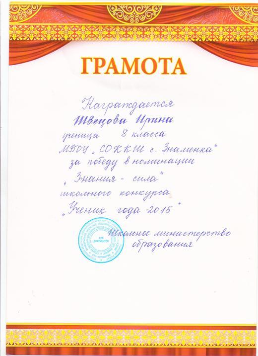 Текст для награждения грамотой учеников